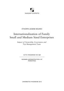 Internationalization of Family Small and Medium Sized Enterprises