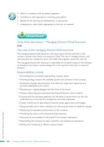 Tools: Role description – Managing Director/Chief Executive
