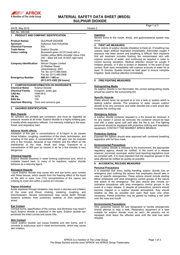 Material Safety Data Sheet Msds Sulphur Dioxide