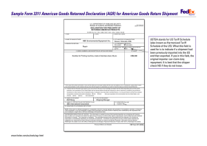 Sample Form 3311 American Goods Returned Declaration