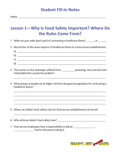 Student Fill-In Notes Lesson 1—Why Is Food Safety Important