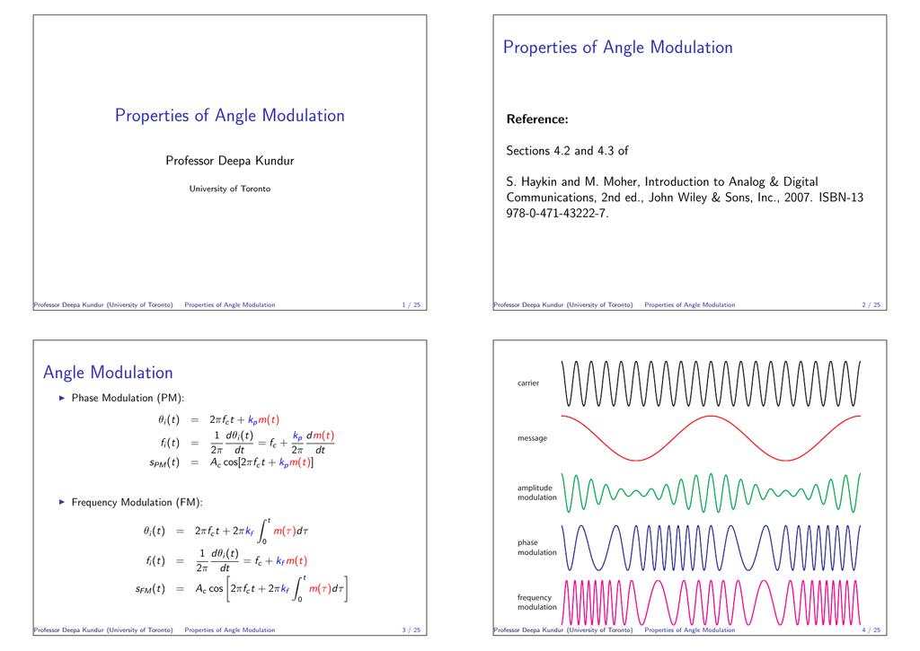 Properties of Angle Modulation - Communications