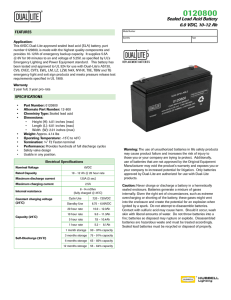 Sealed Lead Acid Battery 6.0 VDC, 10-12 Ah - Dual-Lite