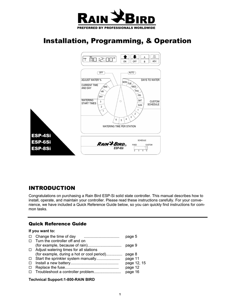 rain bird esp si user manualEach Controller Is Supplied With A Detailed 12page Instruction Manual #4