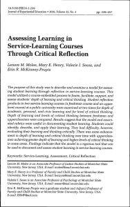 Assessing Learning in Service-Learning Courses Through Critical