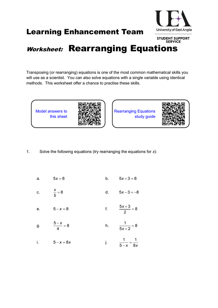 Rearranging Equations Worksheet With Answers Tessshebaylo – Rearranging Formulas Worksheet