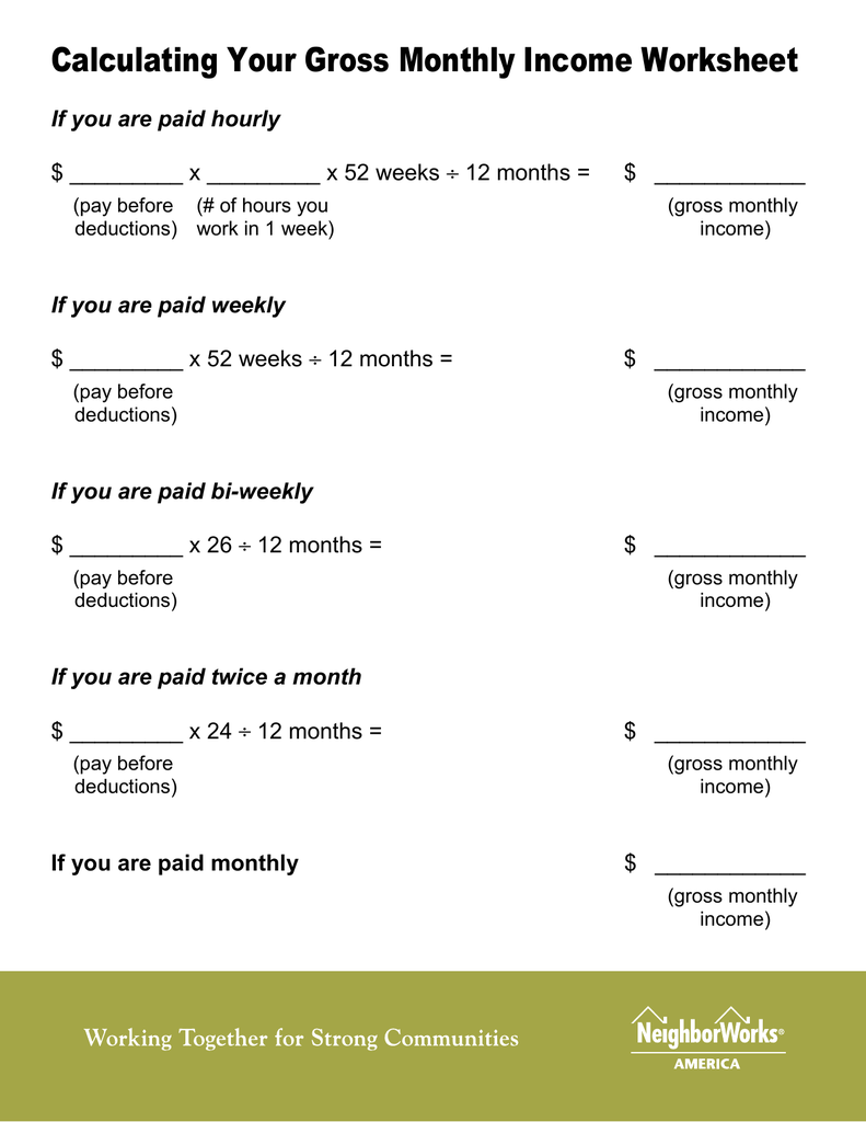 Calculating Your Gross Monthly Income Worksheet