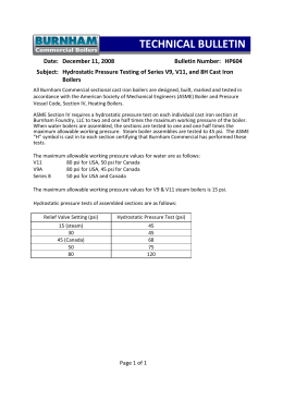 HP604 - Hydrostatic Test Information