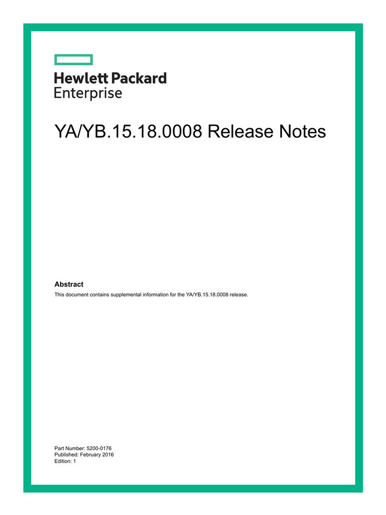 YA/YB 15 18 0008 Release Notes - HPE Support Center