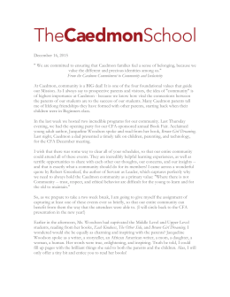 "December 16, 2015 "" We are committed to ensuring that Caedmon"