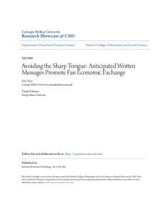 Avoiding the Sharp Tongue: Anticipated Written Messages Promote