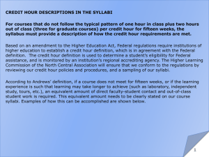 CREDIT HOUR DESCRIPTIONS IN THE SYLLABI For courses that