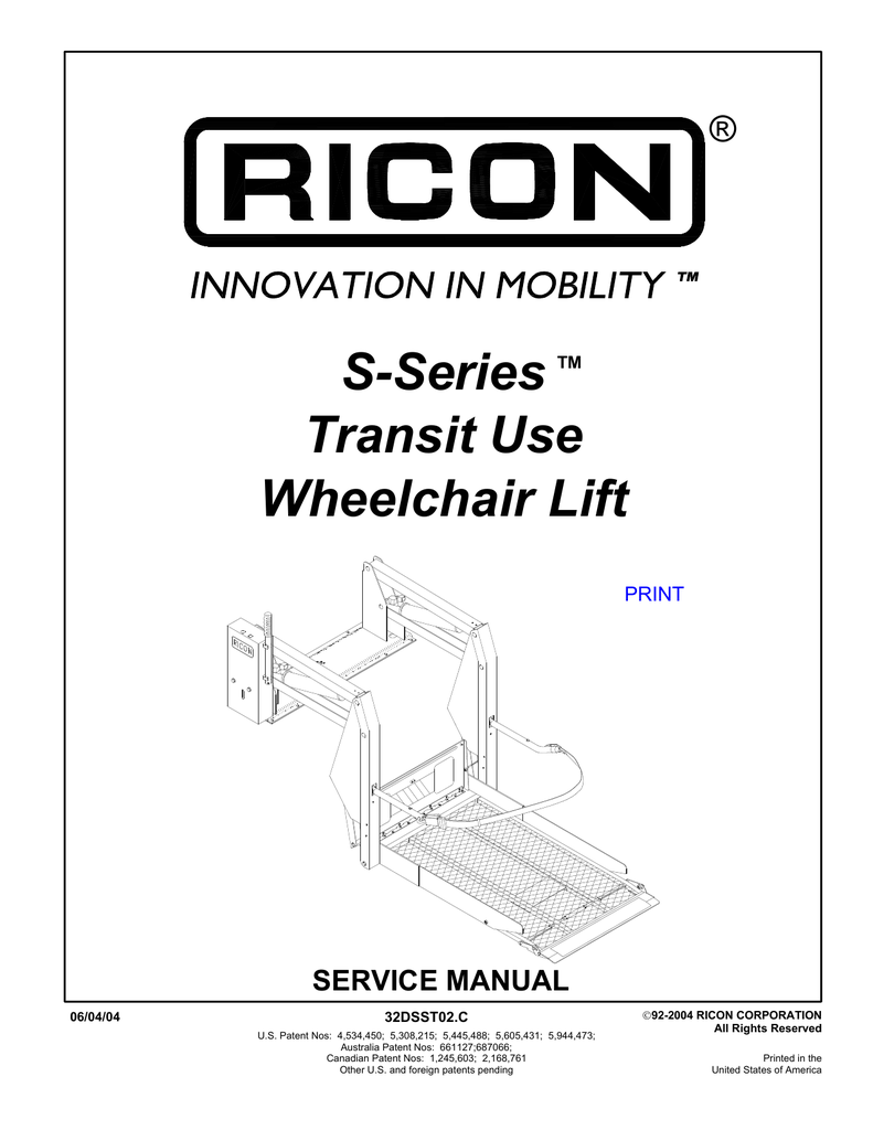 s series transit use wheelchair lift
