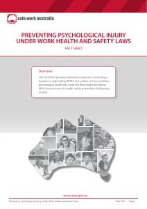 Preventing psychological injury under work health and safety laws fact