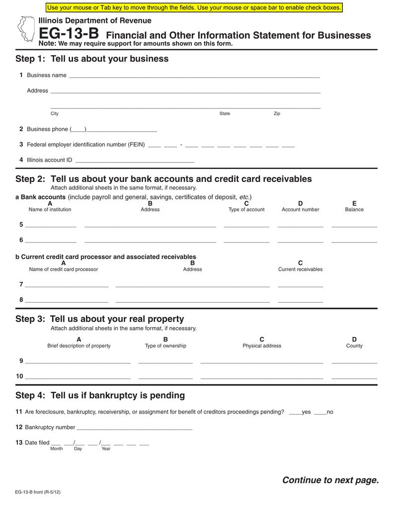 Form EG-13-B - Illinois Department of Revenue