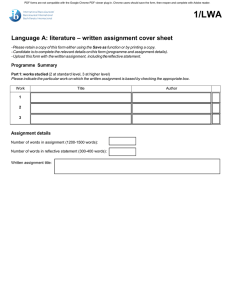 literature – written assignment cover sheet