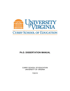 Ph.D. DISSERTATION MANUAL - Curry School of Education