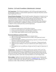 Position: Cal South Foundation Administrative Assistant