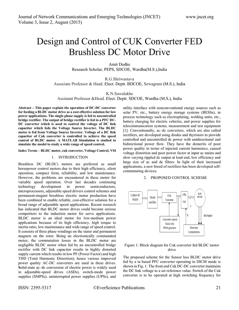 Design And Control Of Cuk Converter Fed Brushless Dc Motor Driver Block Diagram