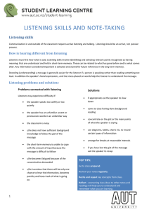 LISTENING SKILLS AND NOTE