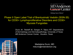 Phase II Open Label Trial of Brentuximab Vedotin (SGN