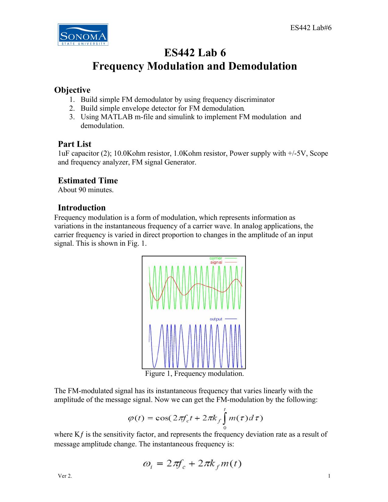 Es442 Lab 6 Frequency Modulation And Demodulation Fm Modulator Block Diagram 018293569 1 E5148a07e7c5064f8306af486f012e8c