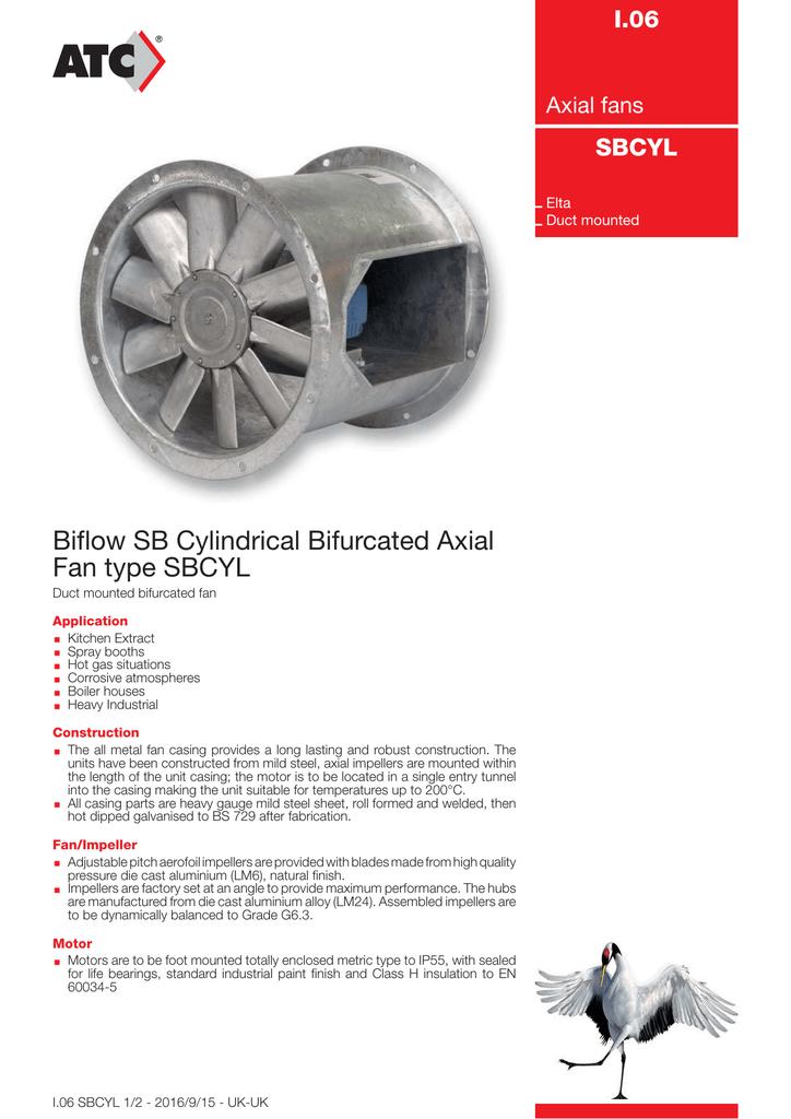 Biflow SB Cylindrical Bifurcated Axial Fan type SBCYL