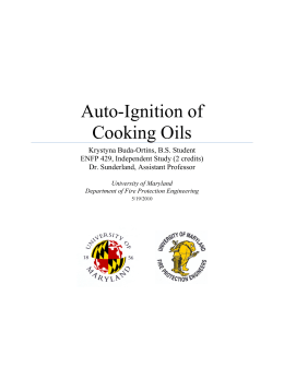 What is the ignition temperature of cooking oil?