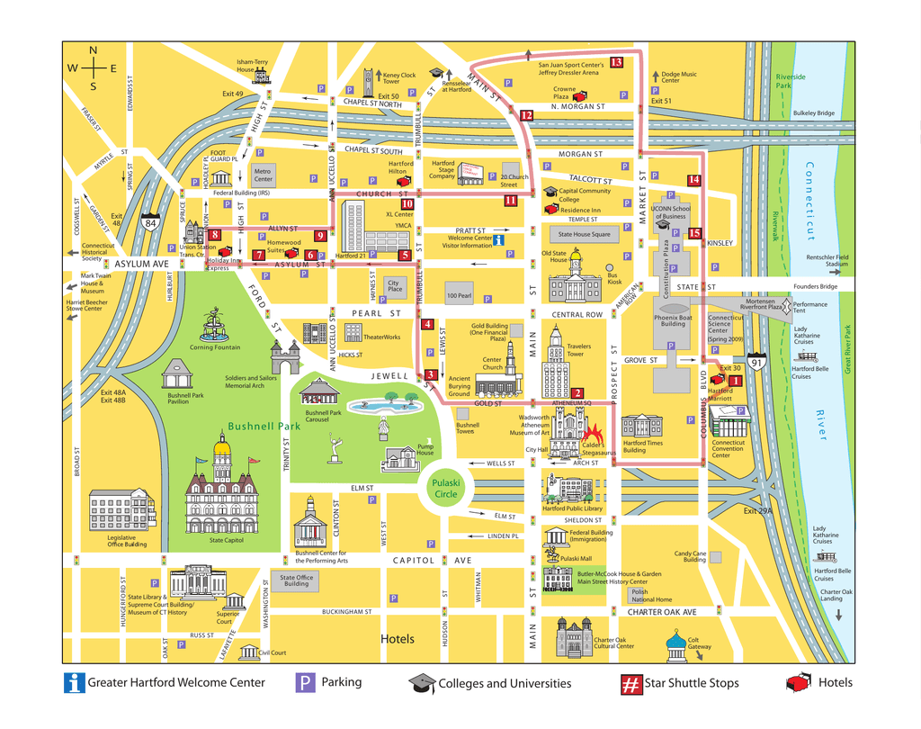 Map of downtown Hartford, CT