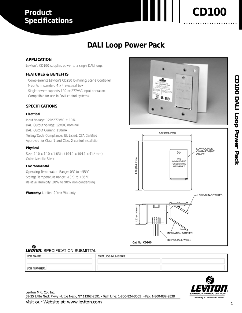cd100 product specifications dali loop power pack application leviton's  cd100 supplies power to a single dali loop  cd100 dali loop power pack  features