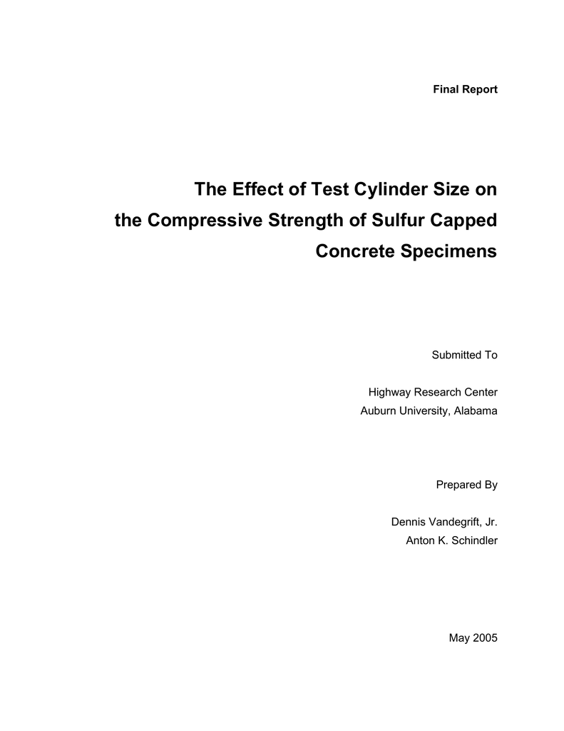 The Effect of Test Cylinder Size on the Compressive Strength of