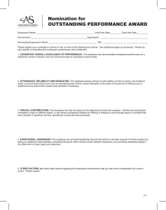 Nomination for OUTSTANDING PERFORMANCE AWARD