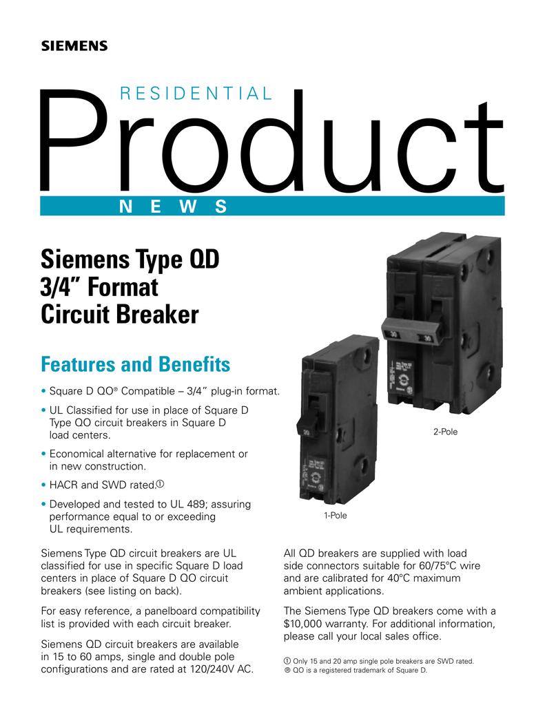 Double Pole 15 Amp Siemens D215 Circuit Breaker QO
