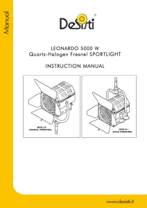 Quartz-Halogen Fresnel SPORTLIGHT INSTRUCTION