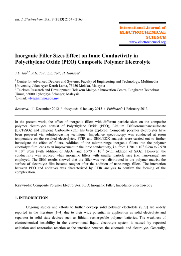 Inorganic Filler Sizes Effect on Ionic Conductivity in