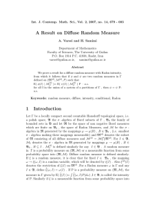 A Result on Diffuse Random Measure 1 Introduction