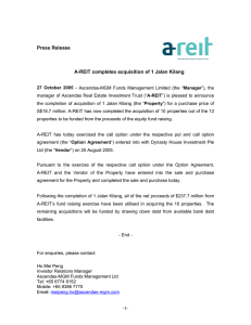 A-REIT Completes Acquisition Of 1 Jalan Kilang