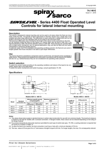 - Series 4400 Float Operated Level Controls for lateral internal