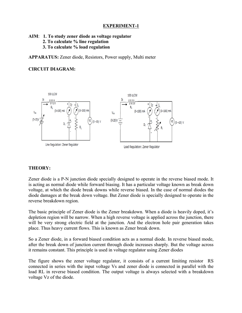 Experiment 1 Aim To Study Zener Diode As Voltage Regulator 2 Circuit Diagram