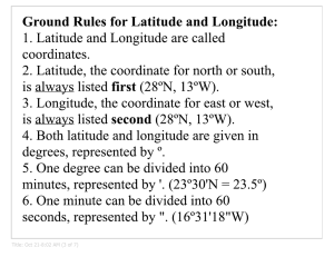 Ground Rules for Latitude and Longitude: 1. Latitude and Longitude