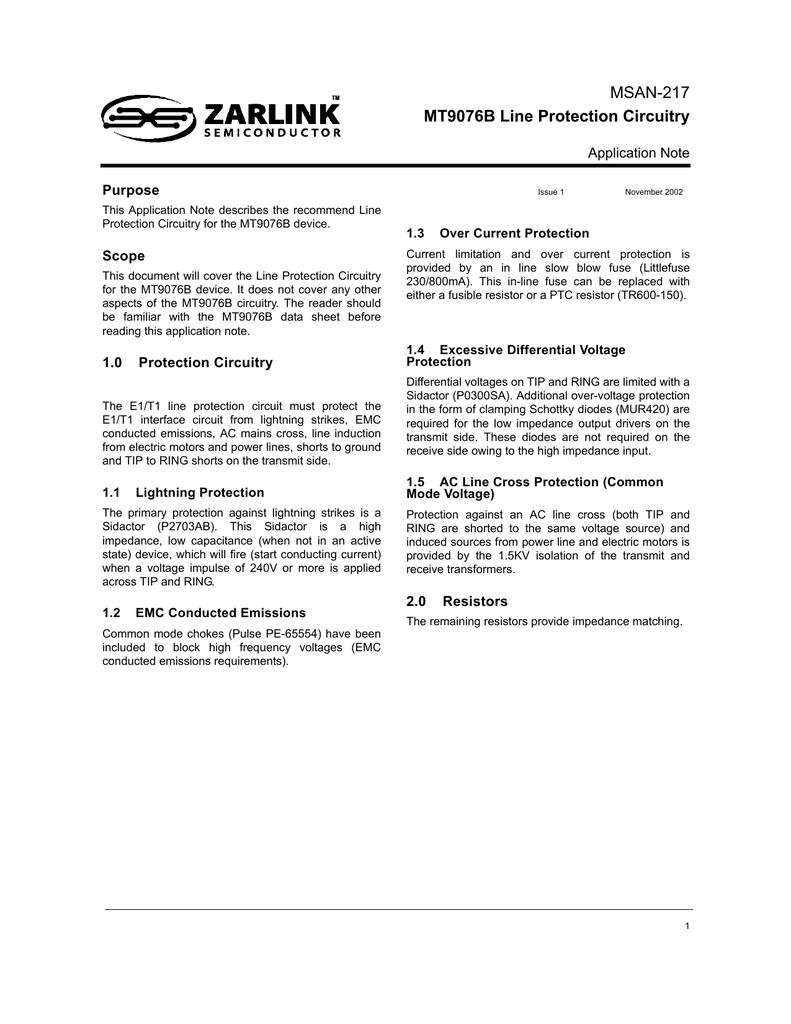 MSAN-217 - MT9076B Line Protection Circuitry