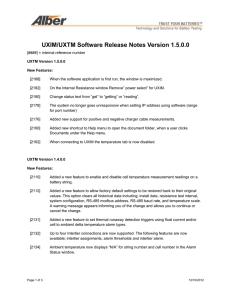 UXIM/UXTM Software Release Notes Version 1.5.0.0