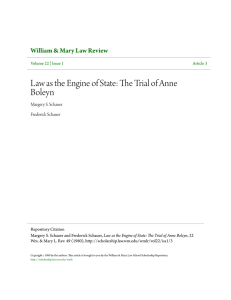 Law as the Engine of State: The Trial of Anne Boleyn