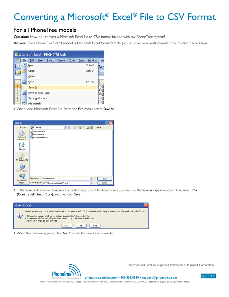Converting a Microsoft® Excel® File to CSV Format