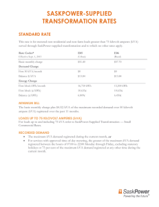 saskpower-supplied transformation rates standard rate