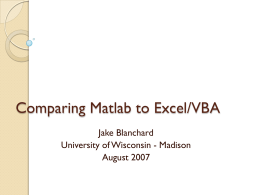 Using Matlab - Problem Solving with Excel and Matlab