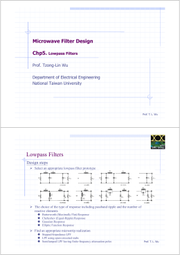 Microwave Filter Design Chp5. Lowpass Filters