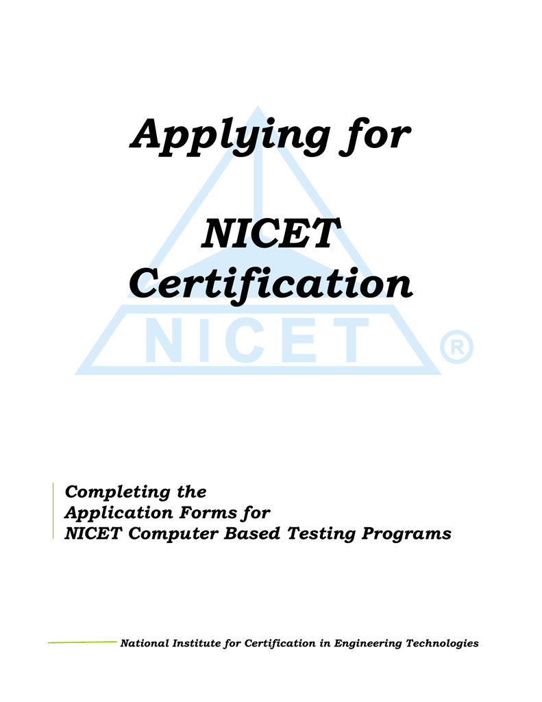 Applying For Nicet Certification