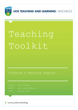 Planning a Teaching Session
