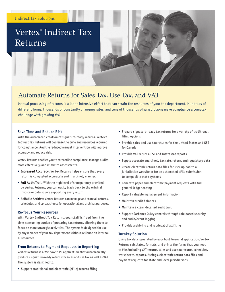 Vertex Indirect Tax Returns